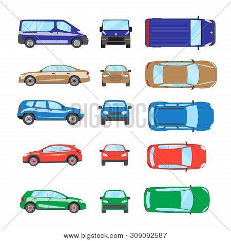 poster of Different Transportation Car. Sedan Car, Hatchback, Universal Car, Suv, Van, Mini Car Set. Vehicle C