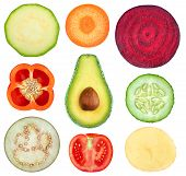 Isolated Vegetable Slices. Collection Of Fresh Cut Vegetables (zucchini, Carrot, Beetroot, Bell Pepp poster