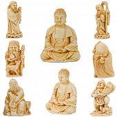 Постер, плакат: Нэцкэ Будды и других святых