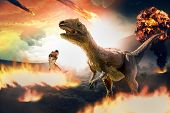 Asteroid Falls On Earth During Dinosaurs Extinction Day - 3d Rendering poster