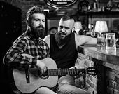 Friday Relaxation In Bar. Friends Relaxing In Bar Or Pub. Real Men Leisure. Hipster Brutal Bearded S poster