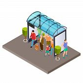 People Are Waiting For The Bus At The Bus Stop Isometric Vector Illustration. Bus Isometric Stop Wit poster