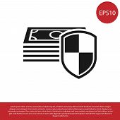 Black Money Protection Icon On White Background. Financial Security, Bank Account Protection, Fraud  poster