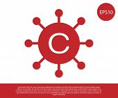 Red Copywriting Network Icon Isolated On White Background. Content Networking Symbol. Copyright Sign poster