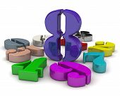 Number Eight In The Middle Of Numbers. 3d Colorful Numbers Lying On White Background With The Number poster