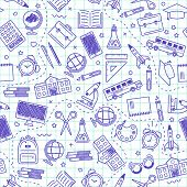 Seamless School Pattern. Back To School. Blue Icons For Education On White Background. poster