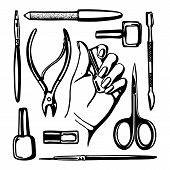 Network Of Manicure Tools Monochrome Isolated On White Background. Hand Drow Elements For Nail Desig poster