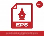 Red Eps File Document Icon. Download Eps Button Icon Isolated On White Background. Eps File Symbol.  poster