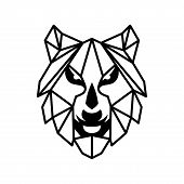 Abstract Face Wolf Style Geometric Symbol Isolated On White Background. Wolf Icon Flat Vector Illust poster