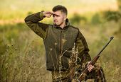 Hunting Is Brutal Masculine Hobby. Hunting And Trapping Seasons. Man Brutal Unshaved Gamekeeper Natu poster