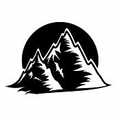 Mountain Top Black Silhouette With Snowy Peak, Mountain Logo, Hills Logo, Mountain Symbol, Mountain  poster