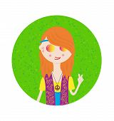 Beautiful Hippie Girl Cute Sticker In Bright Colors. Cartoon Style. poster