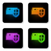 Glowing Neon Money Protection Icon On White Background. Financial Security, Bank Account Protection, poster