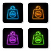 Glowing Neon Weight Pounds Icon Isolated On White Background. Pounds Weight Block For Weight Lifting poster