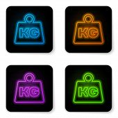 Glowing Neon Weight Icon Isolated On White Background. Kilogram Weight Block For Weight Lifting And  poster