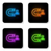 Glowing Neon Customer Attracting Icon Isolated On White Background. Customer Retention, Support And  poster