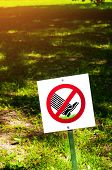 Do Not Walk The Lawn - Sing On The Background Of The Lawn. The Prohibitive Sign On The Label Do Not  poster
