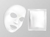 3d Realistic White Sheet Facial Cosmetic Mask And Sachet Isolated On Background. Skincare, Moisturiz poster