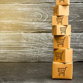 Tower Of Cardboard Boxes With Pattern Of Shopping Carts. Purchasing Power, Delivery Order. E-commerc poster