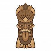 Tiki Idol Tongue Icon. Cartoon Of Tiki Idol Tongue Vector Icon For Web Design Isolated On White Back poster