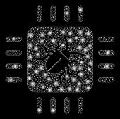 Glowing Mesh Hardware Bug With Glitter Effect. Abstract Illuminated Model Of Hardware Bug Icon. Shin poster