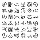 Fabric Feature Icons Set. Outline Set Of Fabric Feature Vector Icons For Web Design Isolated On Whit poster
