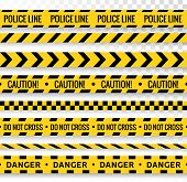 Crime Line Tape. Police Danger Caution Vector Yellow Barrier. Not Cross Security Line poster