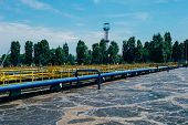 Modern Wastewater Treatment Plant. Tanks For Aeration And Biological Purification Of Sewage By Using poster