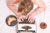 Male Hands Type Story Or Report Using Vintage Typewriter Equipment. Writing Routine. No Day Without  poster