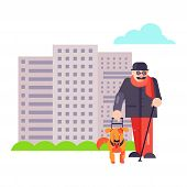 Blind Guide Man Walk With Best Friend Dog Pet Character Or Puppy Illustration. Family Helper With Do poster