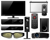 stock photo of home theater  - Home theater equipment with 3d glasses and projector - JPG