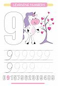 Funny Children Flashcard Number Nine. Unicorn With Hearts Learning To Count And To Write. Coloring P poster