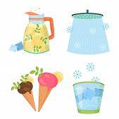Cooling Things For Summer. Summer Chill Concept Illustration. Chill Shower, Shaved Ice, Lemon Lemona poster