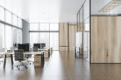 Gray And Wooden Open Space Office With Hall poster