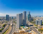 Tel Aviv Skyline At Sunny Summer Day,  Tel Aviv Cityscape Large Panorama At Day, Israel poster