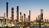 stock photo of greenpeace  - Oil refinery at twilight  - JPG