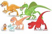 stock photo of dinosaurus  - Colorful Carnivorous Dinosaurs Collection Set - JPG