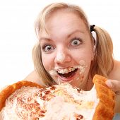 picture of anorexia nervosa  - The girl greedy eats sweet pie - JPG