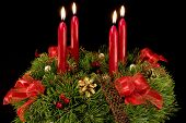 Advent Wreath Over Black