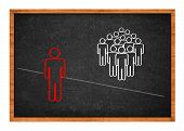 pic of racial discrimination  - Simple conceptual drawing on school blackboard  - JPG