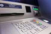 stock photo of insert  - Close up of an ATM machine - JPG