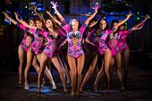 pic of showgirl  - Nine beautiful showgirls in purple costumes with raised hands perform on stage - JPG