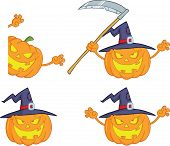 Halloween Pumpkins Cartoon Characters Collection Set 3