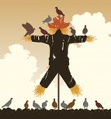foto of scarecrow  - Editable vector silhouette of a flock of pigeons around a scarecrow - JPG