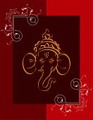 stock photo of ganpati  - Ganpati Greeting Design - JPG