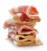 stock photo of bacon strips  - Stack Of Smoked Sliced Bacon On White Background - JPG