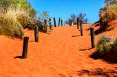 picture of oz  - Bright orange sandy path in Australian outback and blue sky - JPG