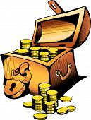 stock photo of treasure chest  - treasure chest gold padlock yellow money box the valuable - JPG