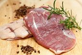 picture of duck breast  - raw duck breast on cutting board - JPG
