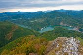 Beautiful Slovakian panoramic landscape with a rock and river down in the valley. Kosice area